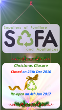 SOFA Closing for Christmas.