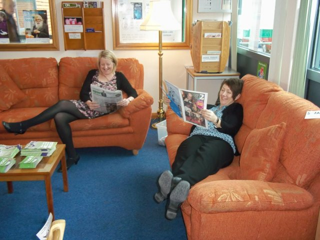Relaxing with magazines at Loughborough Library