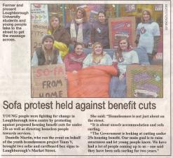Sofa protest held against benefit cuts